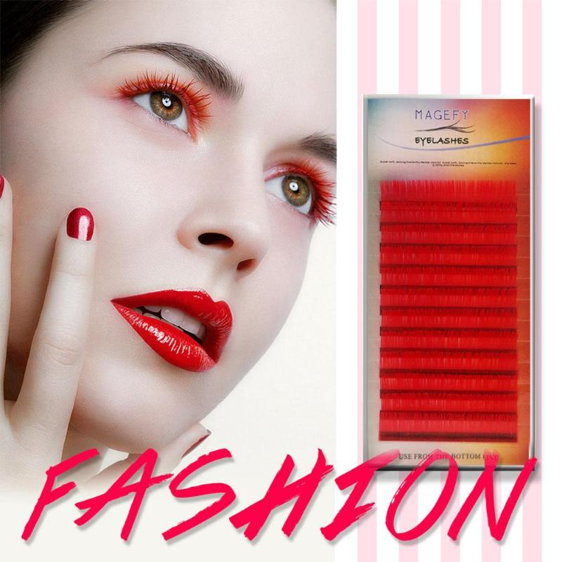 1ad8858140a C Curl 14mm Red Color Lashes Soft Natural False Eyelashes Handmade ...