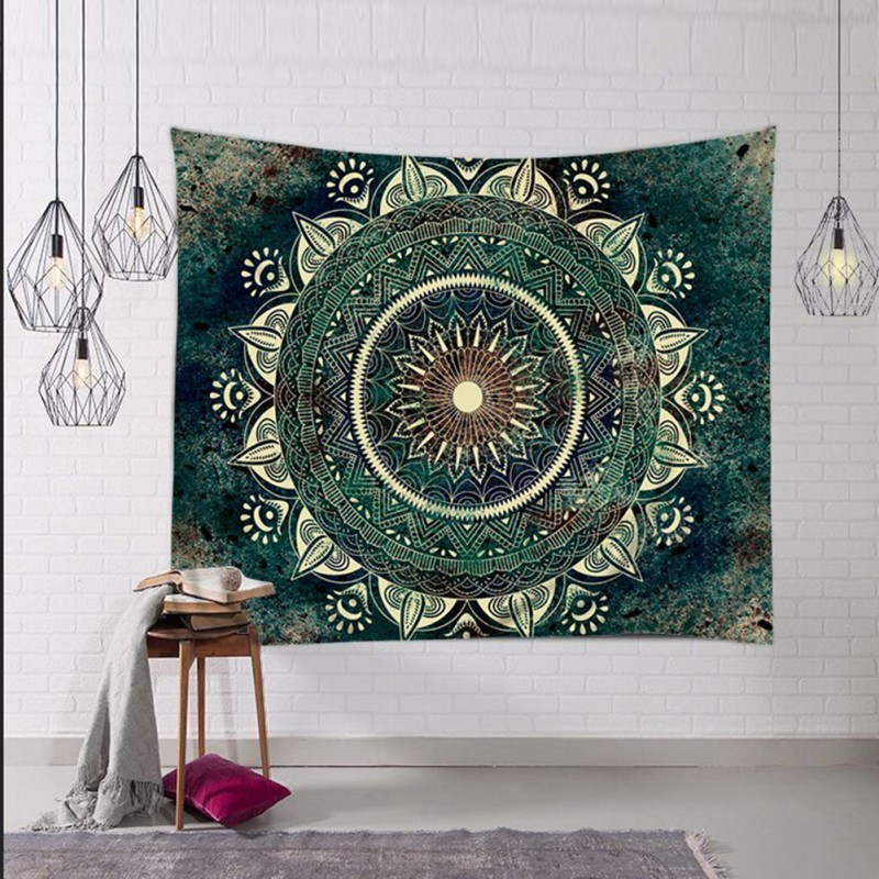 Green Flower Mandala Tapestry / Table Cloth / Ceiling Hanging + AAEONIX Energy Balancing Kit
