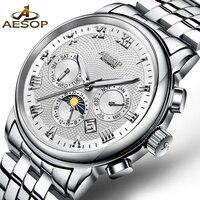 AESOP Business Men Watch Men Automatic Mechanical Famous Brand Wristwatch Steel Strap Male Clock Relogio Masculino