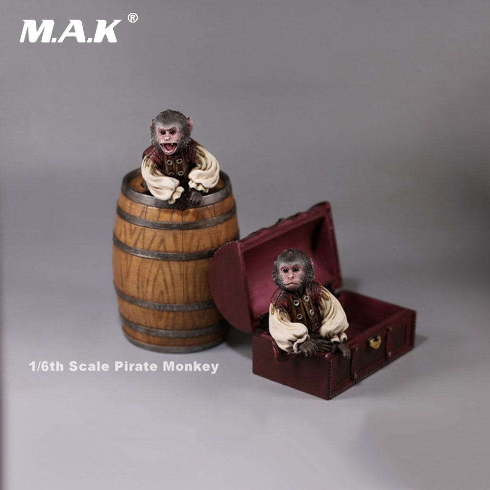 1:6 Scale Accessory Pirate Monkey Wine Barrel Treasure Box House Model Toy for 12 inches Action Figure Collection 1 6 scale rifle gun model for 12 inches action figure accessories collections x80028 m700pss x80026 psg1