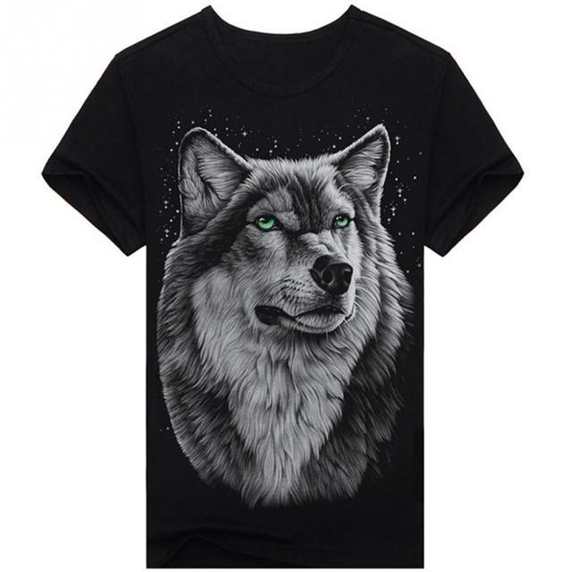 19b16aafd87f New 2019 Summer T-shirt Men 3d Print Wolf Short Sleeve T Shirts Casual  Brand Men 100% Cotton Shirt Men Clothes Tops  5