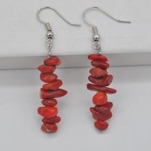Натуральные Лаки ручной работы красные морские кораллы бусины драгоценный камень серьги ювелирные изделия T181