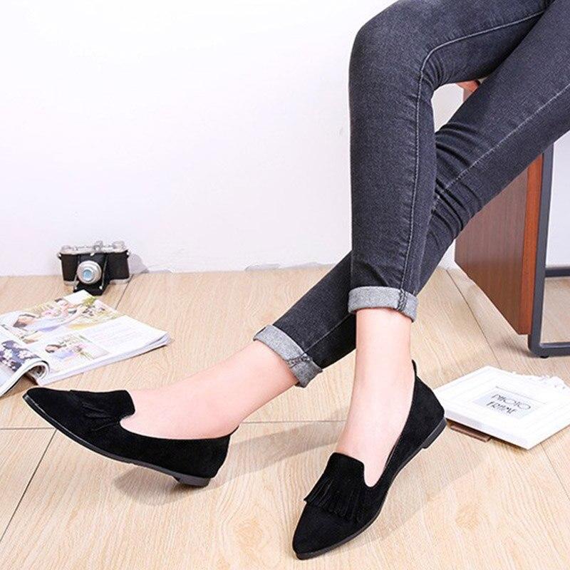 Automne Printemps Chaussures Femelle Femme Pour gris Ballerines Mocassins Femmes Les Bateau Noir Occasionnels Peu 2018 Profonde Bailehou Plat Slip on Dame qtwpPq7