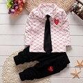 2 ШТ. Детские Мальчики Девочки Хлопок Одежда Топы + галстук + Брюки Наборы Костюмы Установить Детская Одежда Весна Осень Одежда для Детей Костюмы