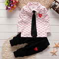 2PCS Baby Boys Girls Cotton Clothes Tops+tie+ Pants Sets Outfits Set Baby Clothes Spring Autumn Clothing for Babies Suits