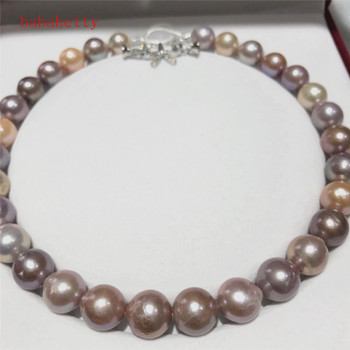 NEW Natural 11-13mm multicolor   Baroque Edison Freshwater Cultured  Nuclear  Pearl  Beautiful necklace Bowknot is clasp 18""