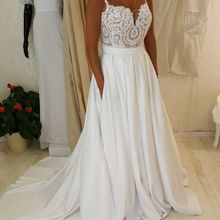 kissbridal Simple Wedding Dresses Beach Wedding Sweep Train