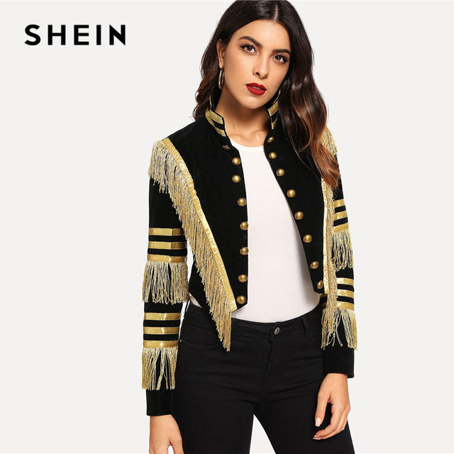 SHEIN Lady Fringe Patched Metallic Double Breasted Stripe Black Gothic Jacket Women Autumn Stand Collar Cropped Jacket 4