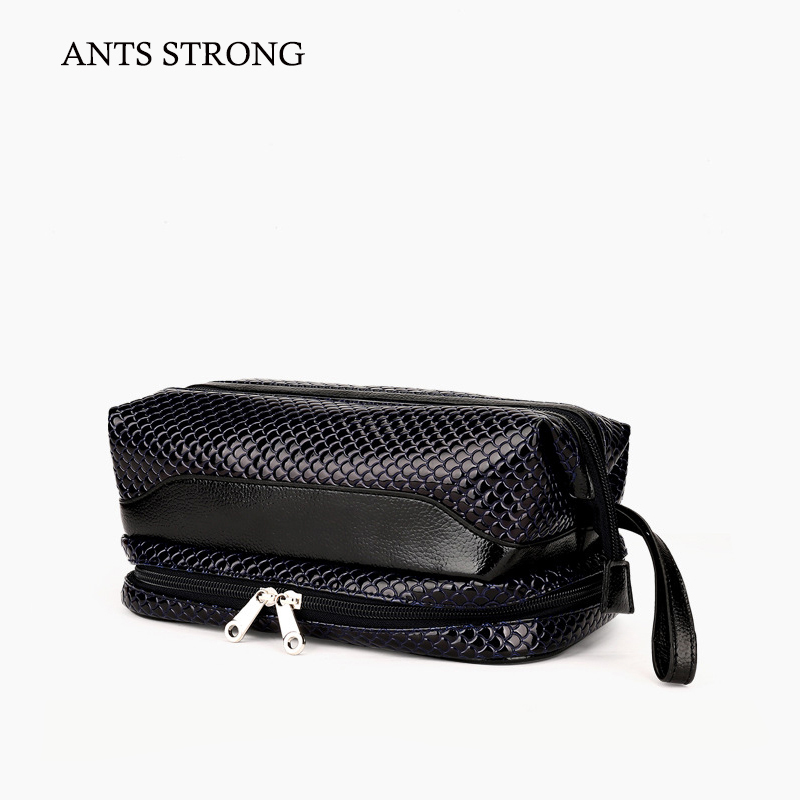ANTS STRONG hanging double layer cosmetic bag/patent leather travel wash pack high capacity makeup bags