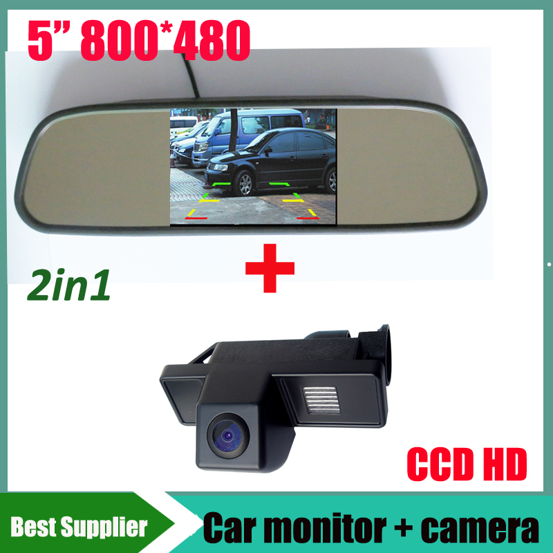 5inch car monitor mirror TFT LCD 800 480 CCD HD Car rear view reverse parking camera