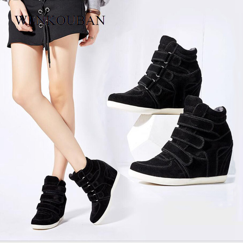 547cebefe7f Fashion Women Wedges Shoes Ankle Boots Female Leopard Flock Motorcycle  Boots Casual Sneakers Shoes Platform Chaussure Femme