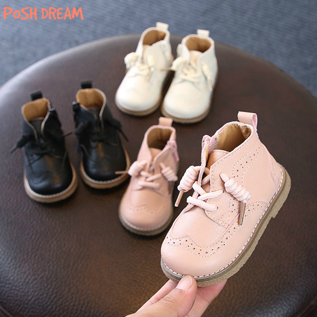 POSH DREAM 3 Colors England Style Fashion Baby Girls Shoes Pink Leather  Short Boots Winter Baby Girls and Boys Martin Boots afe9293f1c47