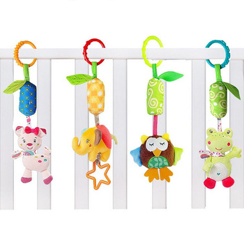 Infant Baby Cotton Rattle hand Bell Toy Animals Plush Development Gifts Toys Mobile Baby Bed Chimes Rattles Bell 40% off
