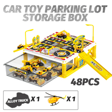 Plastic Car Model Parking Lot Diecast Car Toy Storage Box for Diecast Car Toys 1:64 Vehicle Model with Alloy Truck &  Helicoper