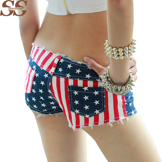 2017 Mais Novo Sexy Lady Shorts Jeans Bandeira DOS EUA Borla Buraco Cintura Baixa Calças Moda Feminina