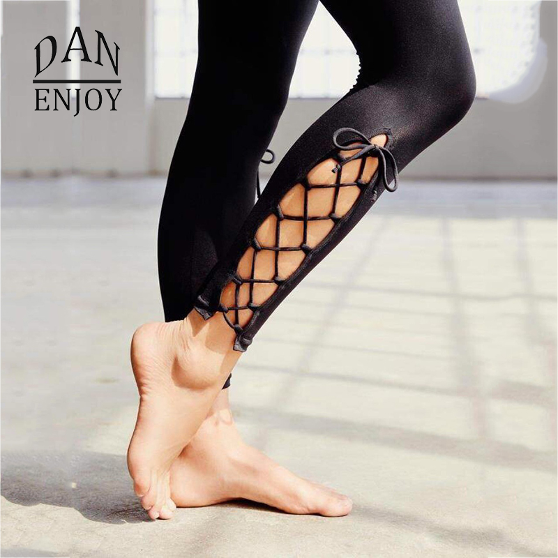 Compression Yoga Tights Leggings Pants Ballet Bows Cross Bandage Quick Dry Elastic Waist Sportswear For Fitness Sports Trousers