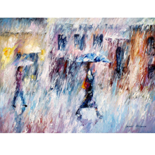 Hand Painted Abstract Downpour Knife Modern Art Oil Painting Canvas Art Wall Living Room Fine hallway Artwork Fine Art