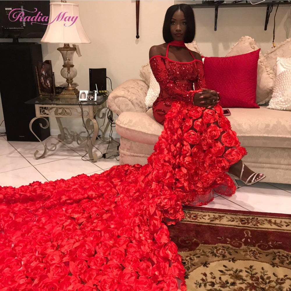 Glitter Red Sequins Long Sleeves Mermaid Prom Dresses for Black Girls High Neck African Formal Dress