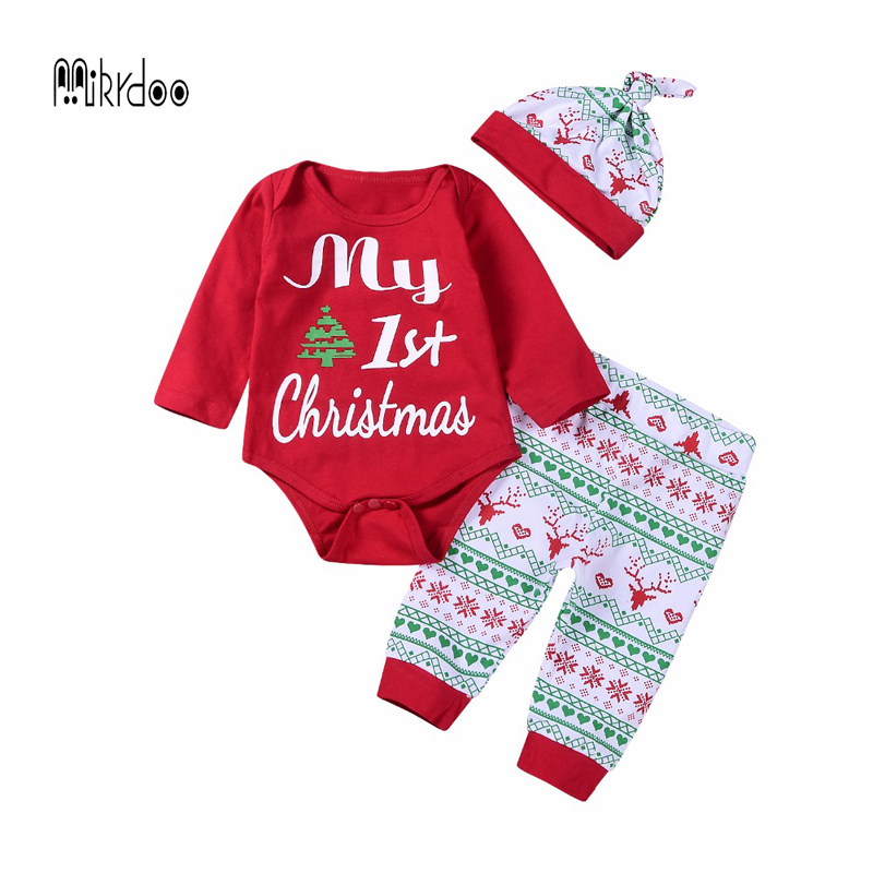 2018 Christmas baby girl Clothes Suits Long Sleeve Rompers My First Birthday Happy Outfits Autumn Winter Kids sport outfit Set my christmas cd