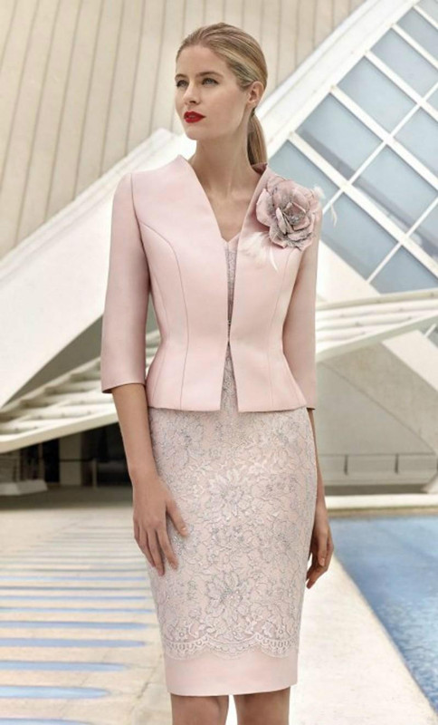 2019 Mother Of The Bride Dresses Sheath With Jacket Lace Flowers Groom Short Wedding Party Dress Mother Dresses For Wedding