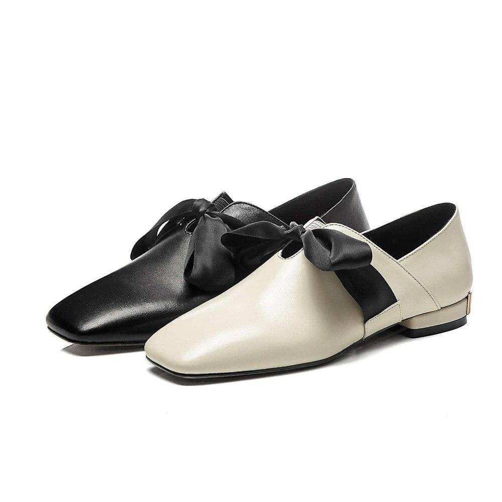 Dedo A Con Saliendo Cosido Riband Zapatos Conducción Pie Estilo Tacones Deslizamiento nudo Bajo En L0f1 Mano Conciso 2019 De negro Princesa Bombas Cuero Mariposa Del Cuadrado Beige 6zwAWUq