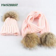 Fashion Baby Hat Scarf With Raccoon Fur Balls Autumn Winter Warm Baby Hats for Girls and Boys Kids Children Caps Scarves set