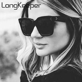 6de6b709d5 LongKeeper nueva moda mujer Vintage gafas de sol hombres cuadrados gafas de  sol Marca Diseño flecha en el templo mujer de conducción sombras