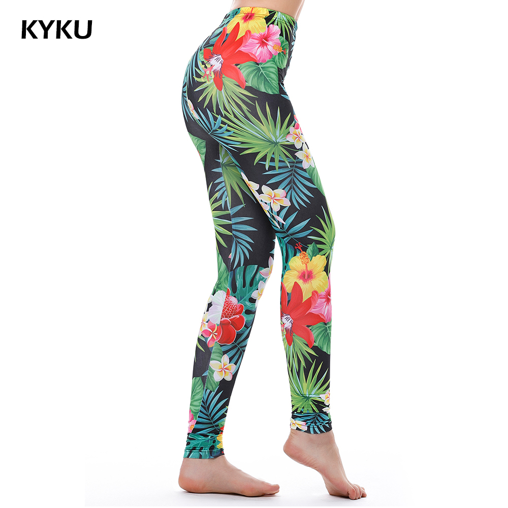 KYKU Märke Gröna Weed Leggings Kvinnor Tropiska Leaves Legins Kvinnor Leggings Utskrift Fitness Legging Sexy Summer 3D Silm Fashion