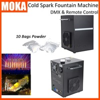 2Pcs +10 bags powder hot sale smokeless safe stage fountain machine wireless dmx cold spark machine for party wedding
