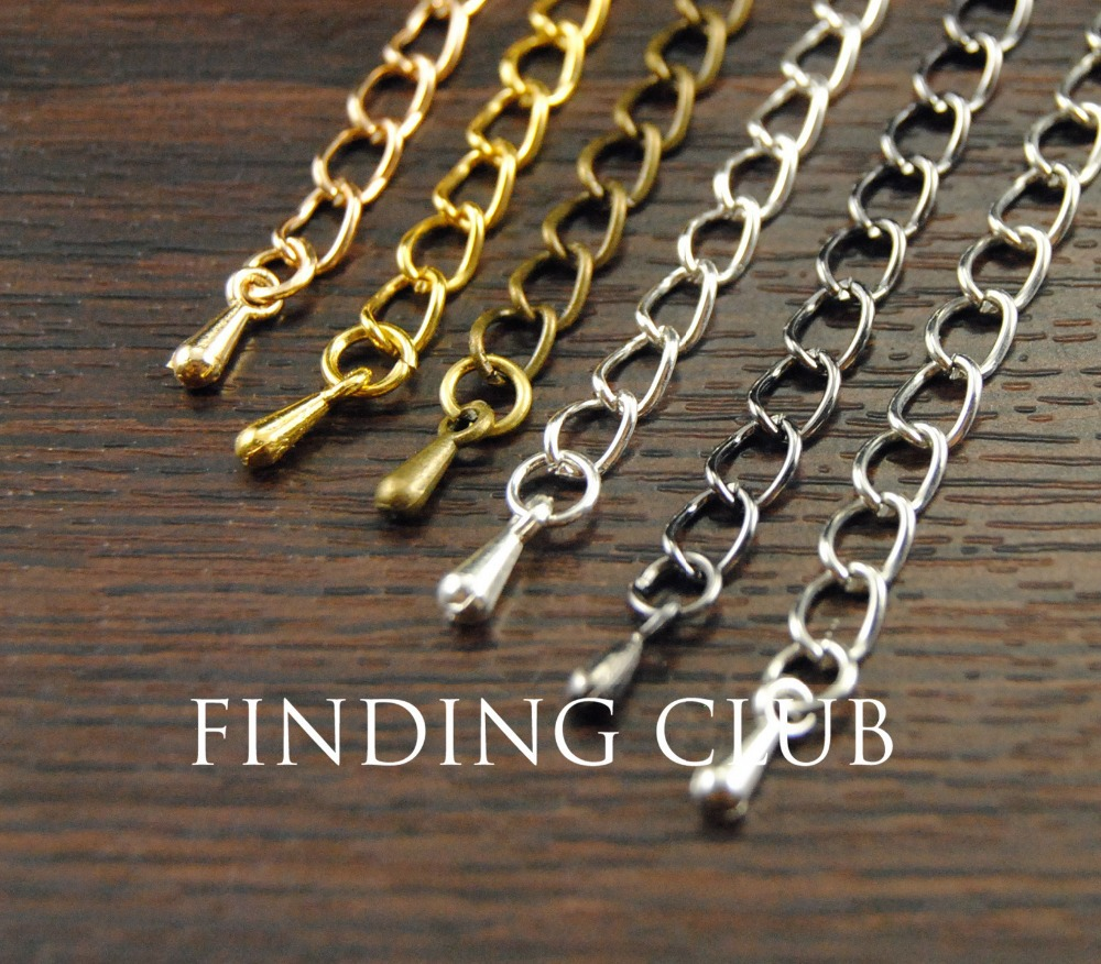 20pcs Sterling Silver Necklace Bracelet Extender Jewelry Chain Tail Craft