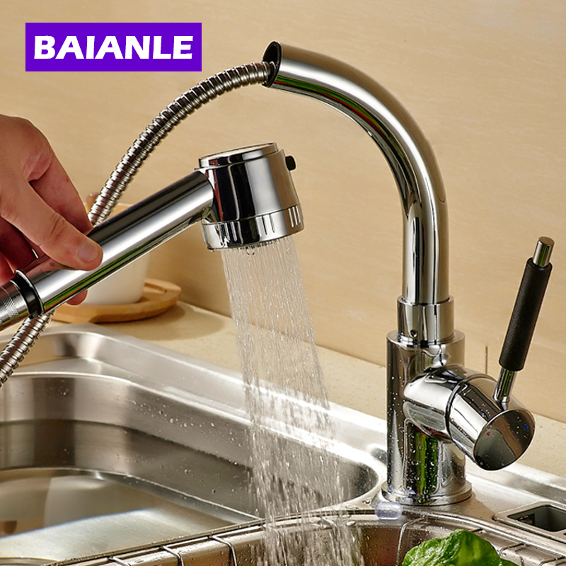 Free Shipping Solid Brass pull out Kitchen Sink Mixer Cold and Hot Kitchen Tap Single Hole Water Tap Kitchen Faucet pull out kitchen faucet brass single holder put down hot and cold water mixer sink tap black