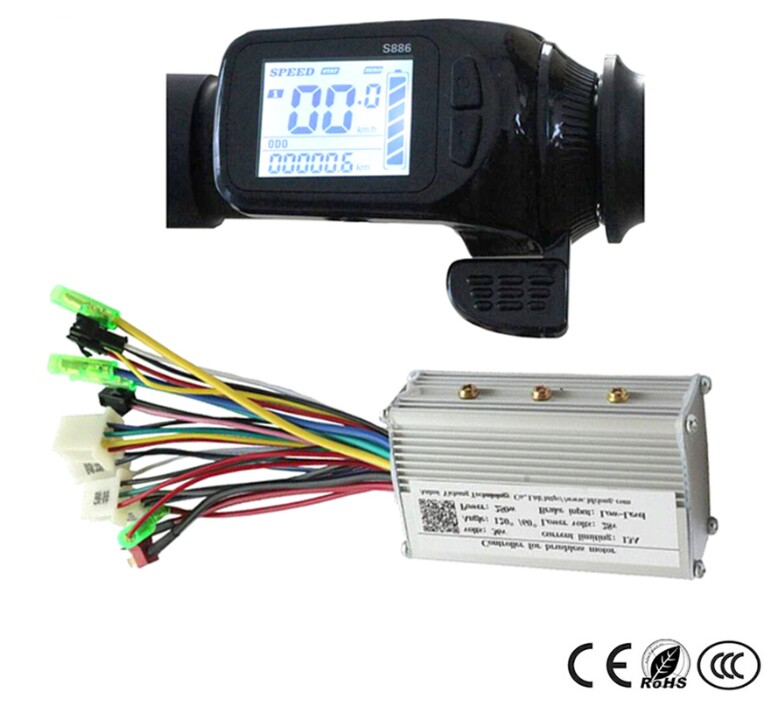24v 36v 48v Electric Bike Assistant LCD Display Thumb Throttle Type LCD Display S886 With Matched Controller