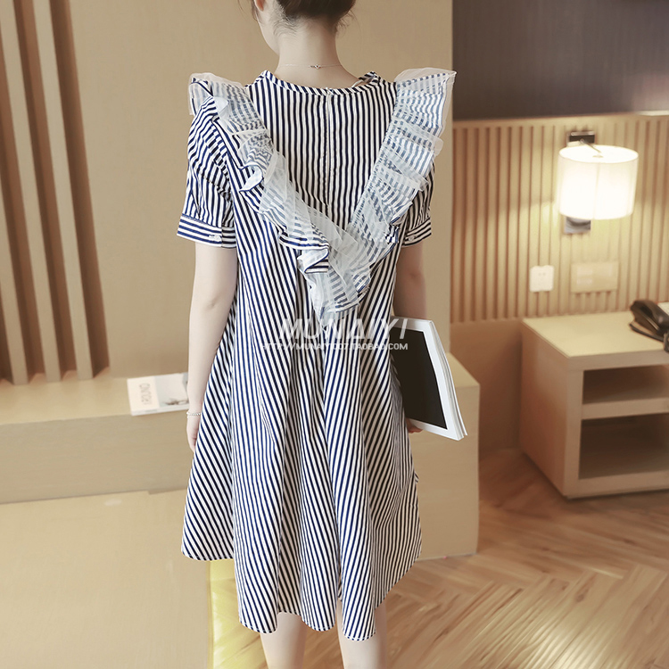 Maternity Dress style Lotus leaf edge vertical striped maternity dresses can be breast-feeding,maternity clothes Free shipping