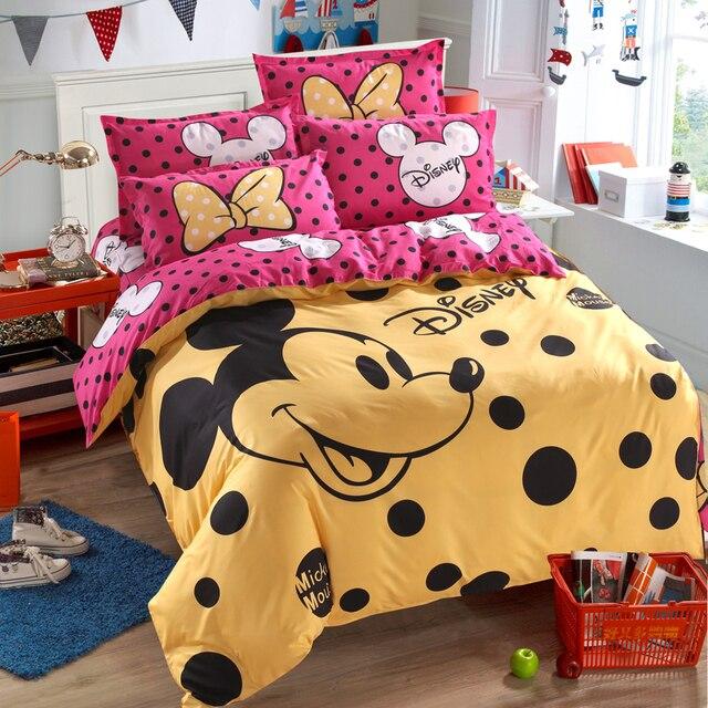 ديزني ميكي ماوس حاف مجموعة غطاء 3 أو 4 قطع كامل التوأم حجم واحد طقم سرير للأطفال ديكور غرفة نوم أغطية سرير