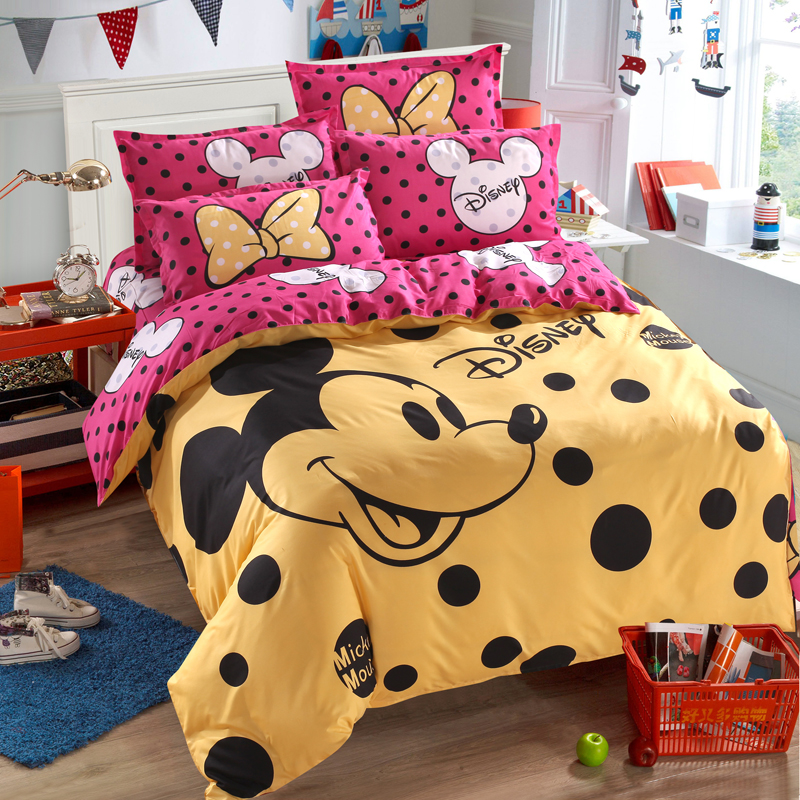 Disney Mickey Mouse Duvet Cover Set 3 Or 4 Pieces Full Twin Single Size Bedding Set  For Children Bedroom Decor Bed Linen