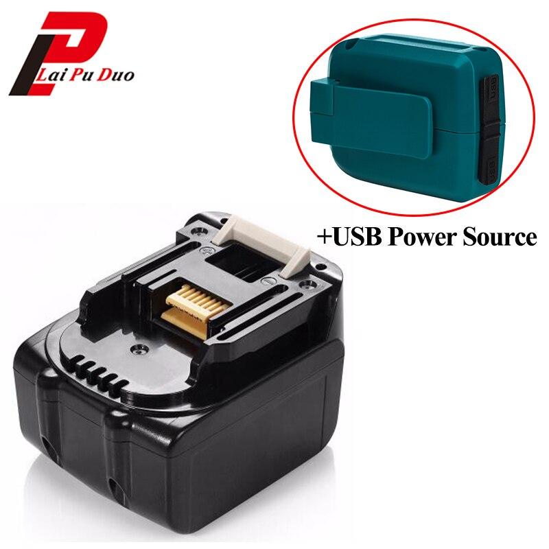 Batterie d'outil électrique de remplacement Li-Ion 14.4 v 3.0Ah pour MAKITA: BL1430, BTD130, LXT200, 194066-1, BL1415 avec adaptateur USB