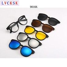 Polarized Sunglasses Men Women 5 In 1 Magnetic Clip On Glasses TR90 Optical Prescription Eyewear Frames Eyeglasses Send Pouch A1