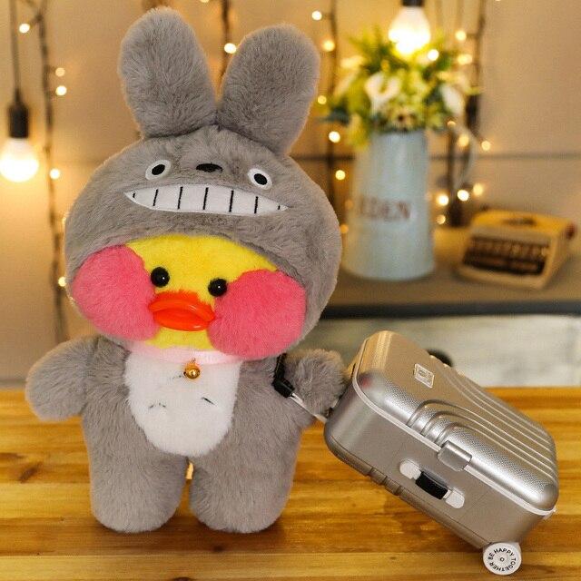 Pato de felpa LaLafanfan café de 30cm para niña, muñeco de peluche de dibujos animados Kawaii, muñecas de animales suaves, regalo de cumpleaños para niña, 1 ud.