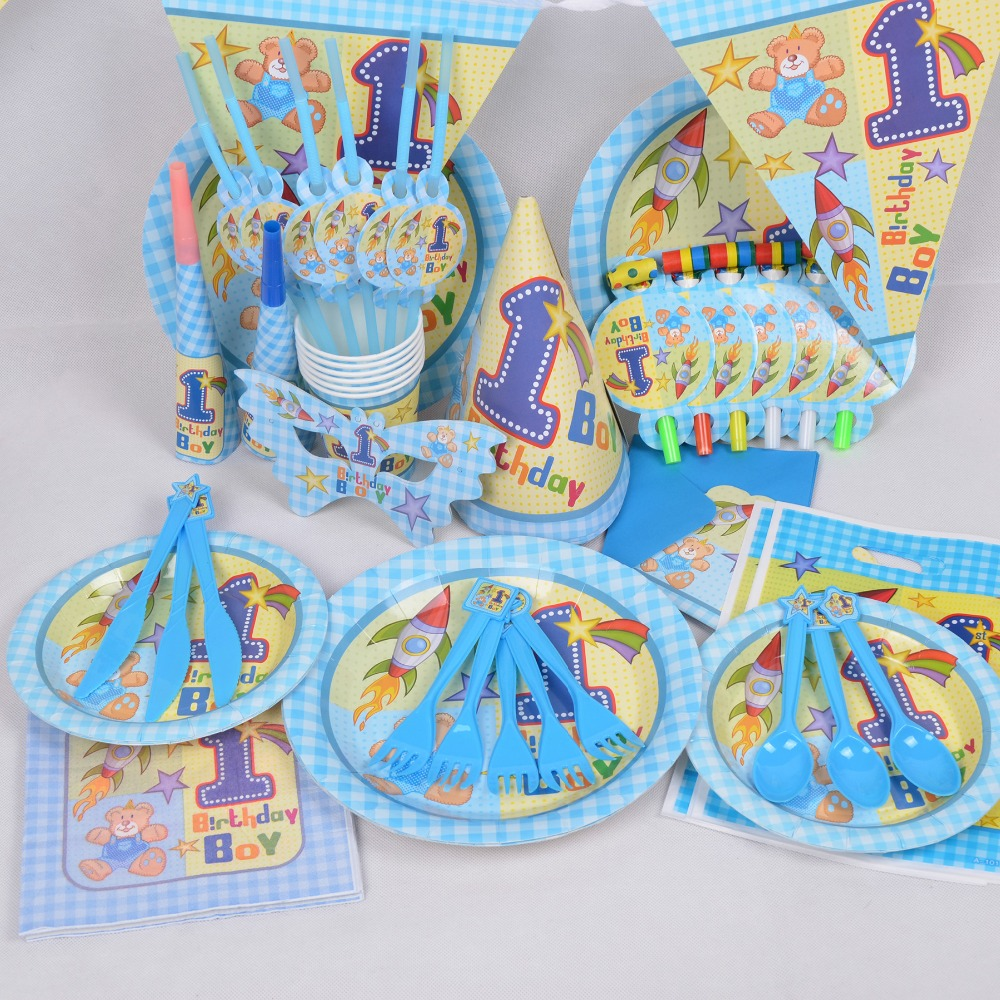 90pcs boy first birthday one year old birthday kids for 1st birthday party decoration packs