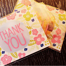 50pcs 100pcs 10*13cm Thank You Thanks Candy Cookie Bags Wedding Party Thanksgiving Day Gift Bag Plastic Biscuit Packaging Bag(China)