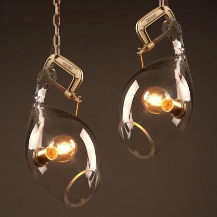 Loft Style Iron Glass Vintage Pendant Light Fixtures Edison Industrial Lamp Dining Room Bar Hanging Droplight Indoor Lighting