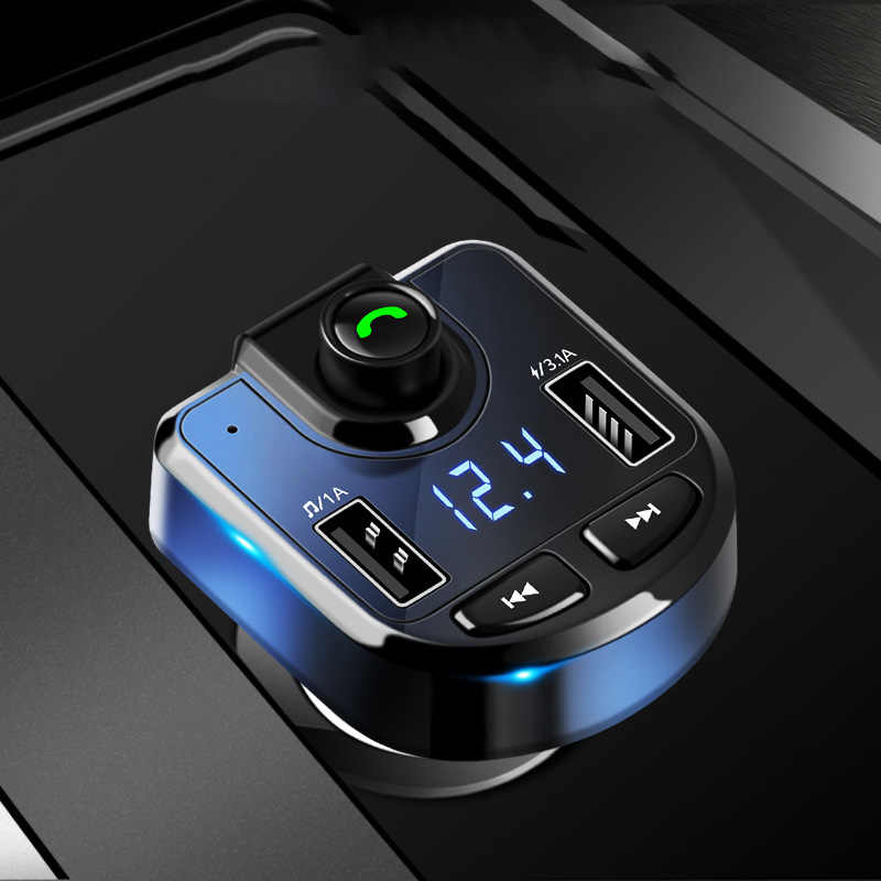 Bluetooth Car Kit FM Transmitter MP3 Player With LED Dual USB 3.1A Quick Charger Voltage Display Music Playing Car Accessories