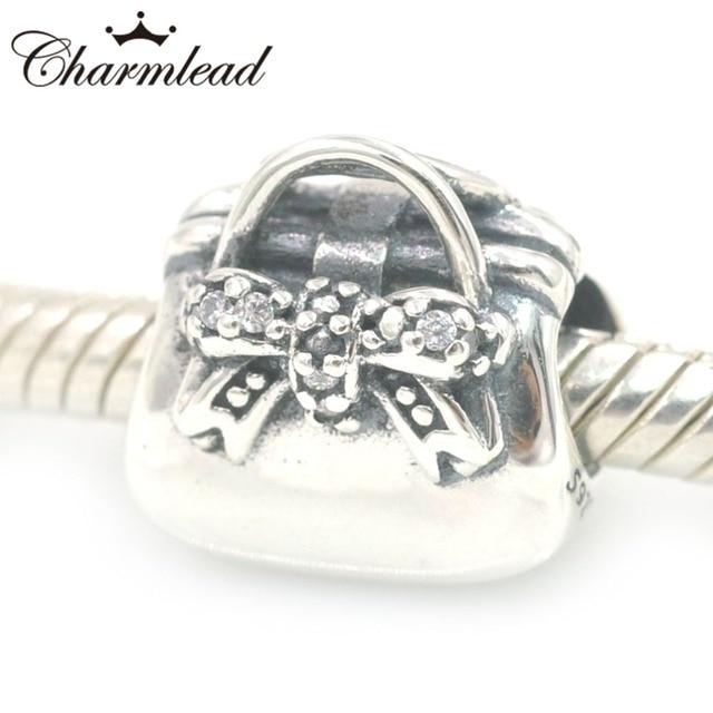 Authentic 925 Sterling Silver Lady Fashion Handbag Charm Beads Fits Pandora Charms Bracelet Diy Jewelry Making