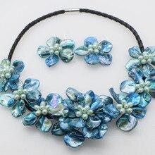 По нижнему краю; высший класс! Пресноводный жемчуг рис и голубая раковина цветок ожерелье природа 18 дюймов природа FPPJ