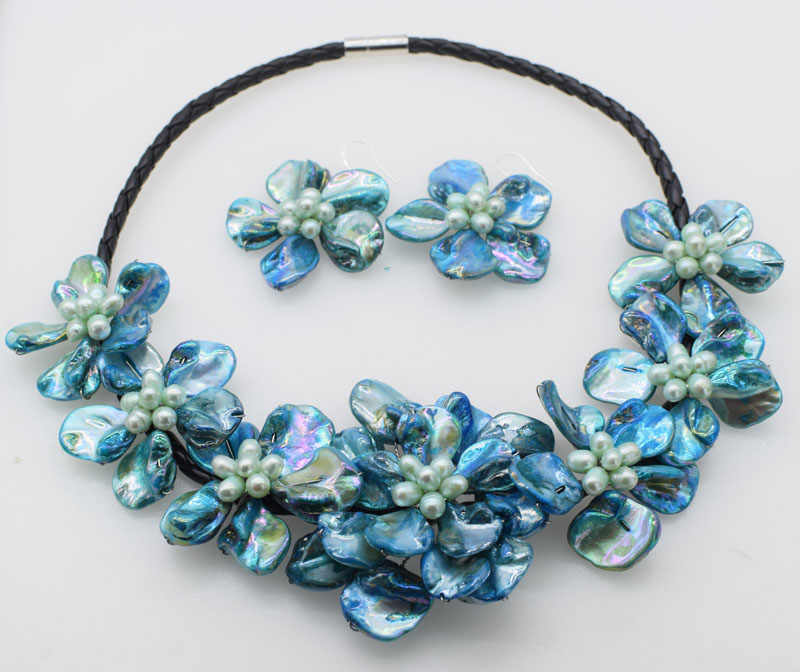 WOW!  freshwater pearl  rice and blue shell flower necklace nature 18inch nature FPPJ wholesale