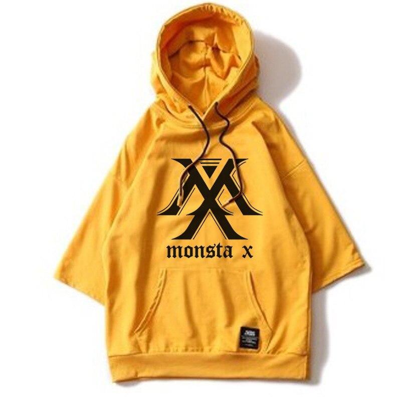ONGSEONG Kpop MONSTA X Album Hoodie Loose Hoodies Clothes Pullover Printed Three Quarter Sleeves Sweatshirts WY552