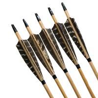 Trad Archery Turkey Feather Wooden Arrow 33 8mm Diameter With Nocks 100 Grain Targeting Arrow Tip