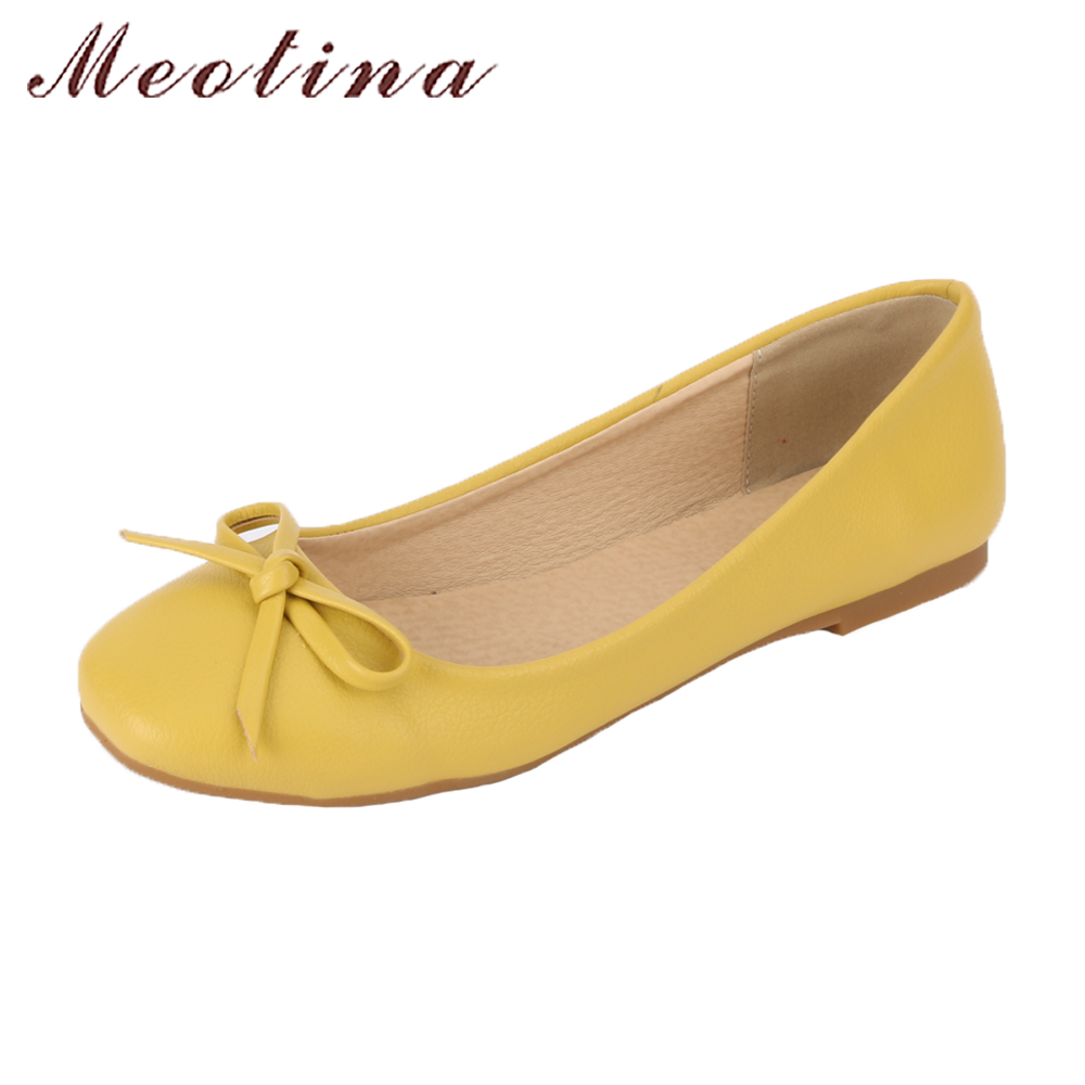 Meotina Ballet Flats Shoes Women Bow Boat Shoes 2018 Slip On Square Toe Flats Ladies Flat Shoes Yellow White Plus Size 10 42 43 meotina shoes women loafers casual flats slip on female shoes plus size 43 44 embroidered ladies flat shoes white zapatos mujer