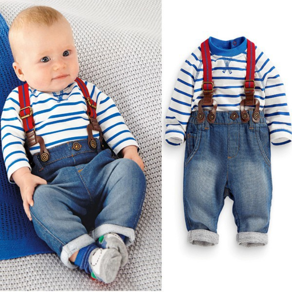 3M-3Y Baby Boy 2 PCS Clothing Sets Striped T-shirt Tops+Jeans Bib Pants Overall Outfis Toddler Clothes marine style striped baby boy tee shirt t shirt