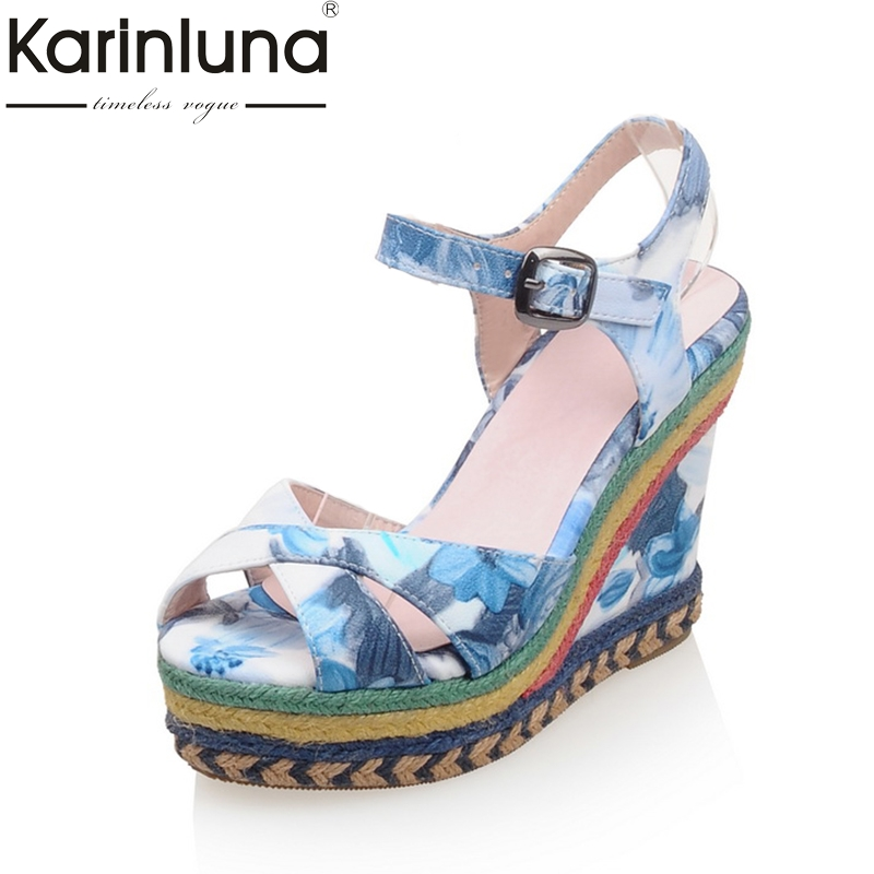 Фотография KarinLuna Big Size 32-43 Ankle Strap Women Shoes Colorful Printing Bohemia Wedge High Heels Summer Sandals Party Shoes Woman